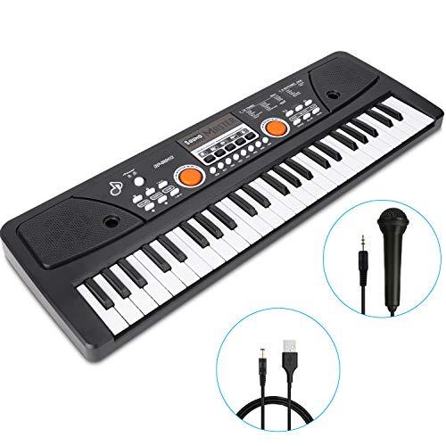 RenFox 49 Key Piano Keyboard Portable Electronic Kids Piano Keyboard Beginner Digital Music Piano Keyboard Microphone Teaching Toy Gift for Kids Boy Girl