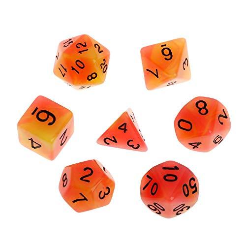 Cuawan 7pcsSet Luminous Polyhedral Sided Dice D4 D6 D8 D10 D12 D20 Set