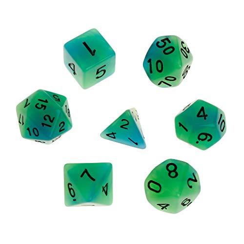 MEIYIN Luminous Polyhedral Sided Dice D4 D6 D8 D10 D12 D20 Set D&D RPG Poly Game 7pcsSet for Dungeons Dragon