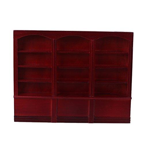 Grand Wooden Bookcase Cabinet - Dark Red 112 Dollhouse Miniature Furniture