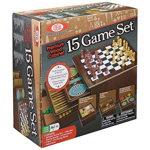 Ideal Premium Wood Cabinet 15 Game Set