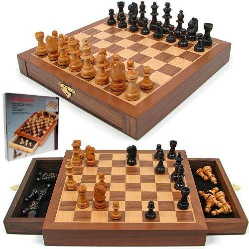 Inlaid Walnut Wood Cabinet Style Magnetized Staunton Chess Set - Includes 2 Bonus Decks of Cards