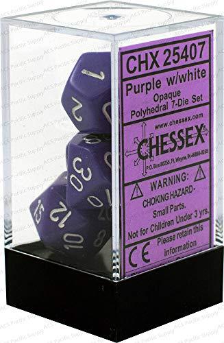 Chessex CHX25407 Dice-Opaque PurpleWhite Set