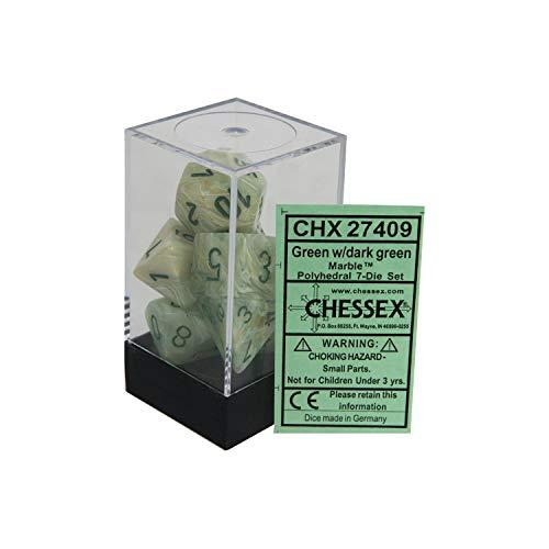 Chessex CHX27409 Dice-Marble Dark Green Set