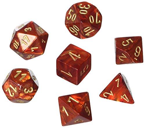 Chessex CHX27414 Dice - Scarab 7Pc ScarletGold