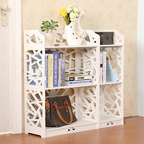 D-line Wood and Plastic Bookcase Bookshelf Storage Shelf White Set of 2