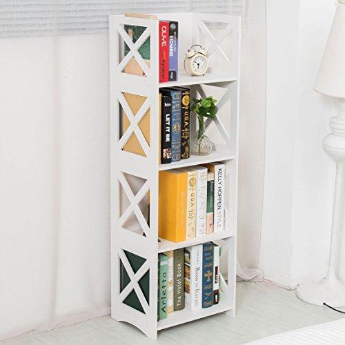 Dline - White Wood&Plastic Storage Shelf - Bookcase 4C