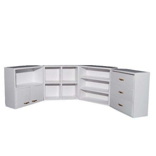 Dollhouse Miniature - SODIALR112 Dollhouse Miniature Furniture Living Room Wooden Shelf Combination Cupboard - White