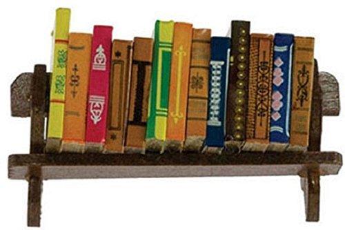 Dollhouse Miniature Set of 12 Large Books on a Wood Shelf by International Miniatures