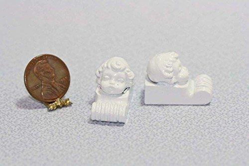 Dollhouse Miniature Set of Two Cherub Brackets Wood Shelf in White