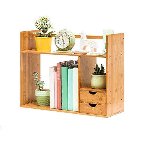 BBG BookshelfSmall Bookshelf with Drawers Wooden Shelves Student Small Desktop Storage Shelf Study Bedroom Simple Modern