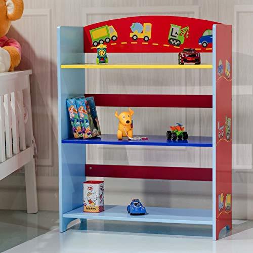 ReunionG 3-Tier Kids Bookshelf Transportation Hand Crafted Kids Wooden Bookshelf Adorable Corner Book Organizer