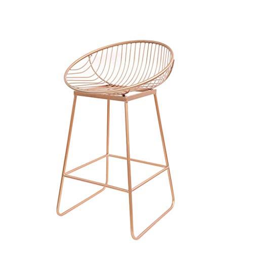 Casual Seating Chair Bar Stool Bar Chair Wrought Iron Bar Chair Bar Chair High Stool Modern Minimalist Leisure Metal Chair BOSSLV Rose Gold 62CM