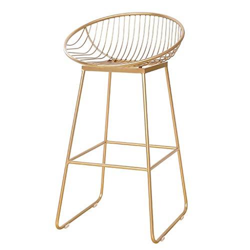 Casual Seating Chair Bar Stool Bar Chair Wrought Iron Bar Stool Bar Stool High Stool Bar Front Desk Beauty Modern Minimalist Casual Metal Chair BOSSLV Gold