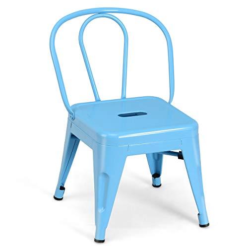 JF World Tolix Kids Stool Metal Chair Stackable Toddler Children Lightweight Blue New-Blue