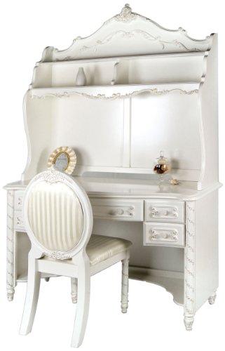 Furniture of America Nathalia Fairy Tale Style 3-Piece Desk Set Pearl White Finish