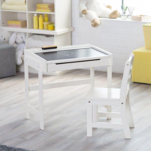 Lipper Chalkboard Storage Desk and Chair Set Vanilla