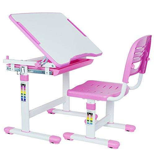 VIVO Height Adjustable Childrens Desk Chair Set  Kids Interactive Work Station Pink DESK-V201P