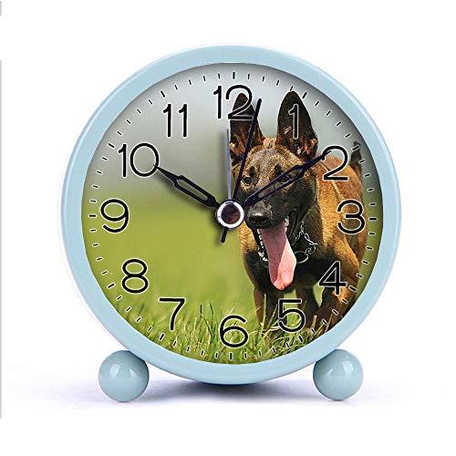 Cute Color Alarm Clock Round Metal Desk Clock Portable Clocks with Night Light House Decorations -160malinois-dog-animal-animal-portrait-55806 White