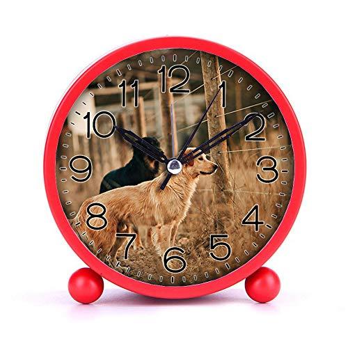 Cute Color Alarm Clock Round Metal Desk Clock Portable Clocks with Night Light House Decorations -329cat Dog 1959052 Blue