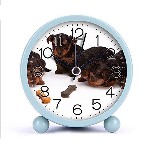 Cute Color Alarm Clock Round Metal Desk Clock Portable Clocks with Night Light House Decorations -342cat Dog 230785 Black