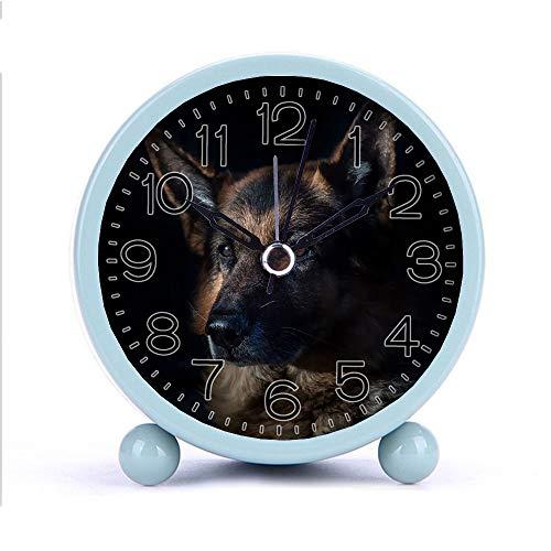 Cute Color Alarm Clock Round Metal Desk Clock Portable Clocks with Night Light House Decorations -344cat Dog 236622 White