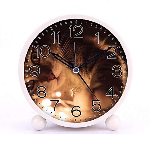 Cute Color Alarm Clock Round Metal Desk Clock Portable Clocks with Night Light House Decorations -457cat Dog 923360 White