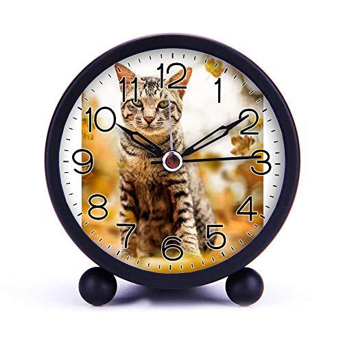 Cute Color Alarm Clock Round Metal Desk Clock Portable Clocks with Night Light House Decorations -491Tabby Cat Black
