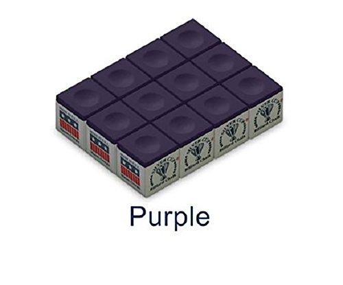 One Dozen Purple Silver Cup Pool Cue Chalk