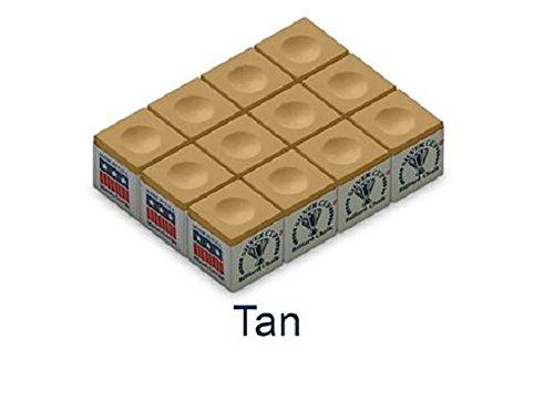 One Dozen Tan Silver Cup Pool Cue Chalk