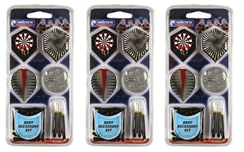 Unicorn Deluxe Dart Accessory Kits Flights Shafts Soft Tips Dart Tool - 3 Pack