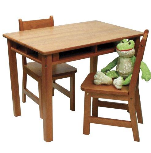 Lipper International 534P Childs Rectangular Table and 2-Chair Set Pecan