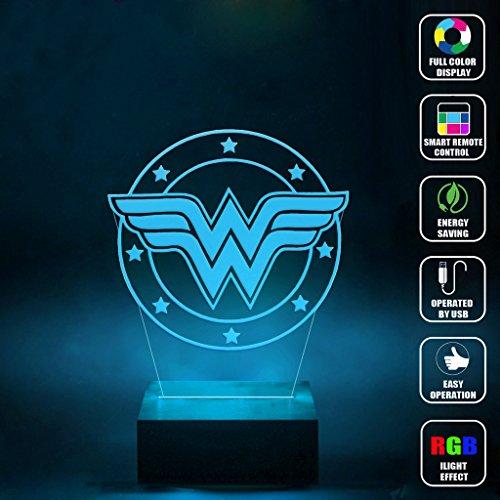 CMLART Handmade Wonder Woman Logo 3d Lamp RGB Full Color 44 Key Remote control LED Night Light Best Gift Desk Table Lighting Home Decoration Toys