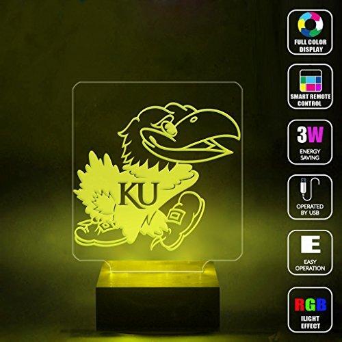 Shadows University of Kansas Jayhawk Logo Handmade Mood Light 3D Optical Illusion LED Lamp RGB Full Color 44 Key Night Light Desk Table Lighting Toys