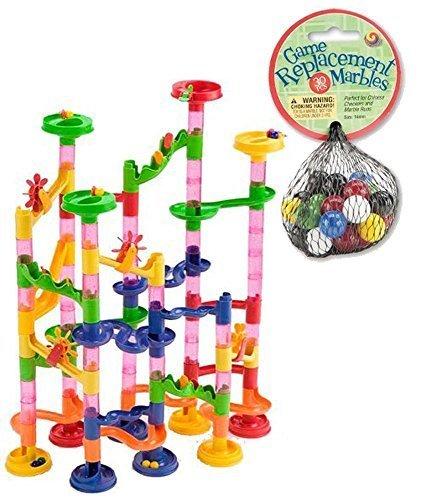 Mega Fun Marble Run 75 Piece Set plus 60 Marbles Total 135 Pc Set