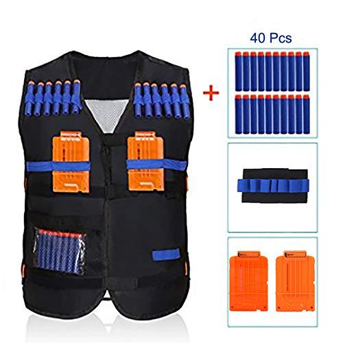 Estink Kids Tactical Vest Kit Cartridge Holder Jacket with Wrist Band 2 Pcs Quick Reload Clip and 40 Pcs Bullets for Nerf Guns N-Strike Elite Series