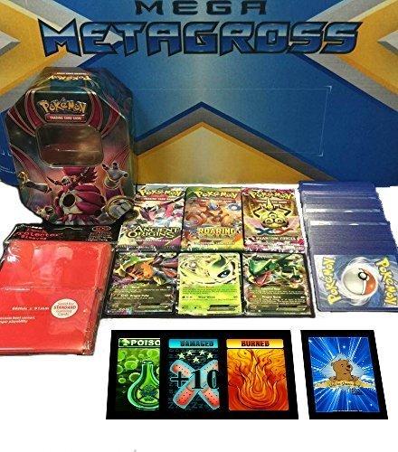 Pokemon Big Card Bundle 100 Assorted Pokemon Card Lot with 3 Ultras Rares Bonus Pokemon Playmat Pack of 100ct Sleeves 3 Booster Packs Tin Plus Bonus 3 Free Golden Groundhog Token Counters