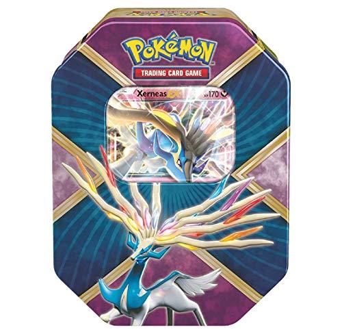 Pokemon TCG Xerneas EX Pokemon Tin - Legends of Kalos Tin Contains 4 Pokemon Booster Packs and Ultra Rare Xerneas EX