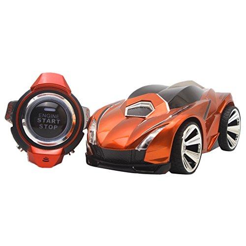 Delight eShop Racing Toy Car 24G 6CH Command Voice Car Watch Remote Control Car Orange