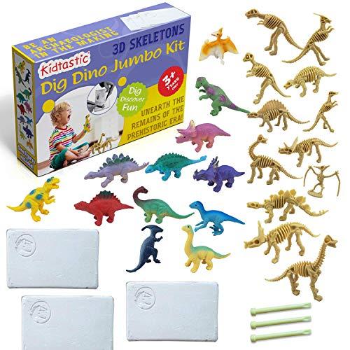Kidtastic Dig Dinosaur Excavation Set Minis 9 PCS 3 Easy Dig up Bricks STEM Learning Archaeology Paleontology Toy for Kids Ages 3 and Up