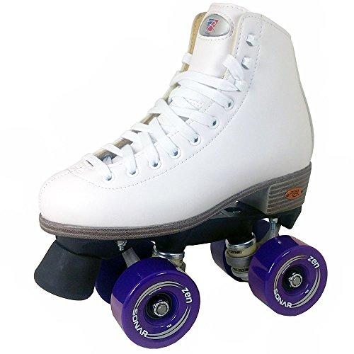 Riedell Citizen Outdoor Roller Skates White with Purple Zen Wheels Size 7