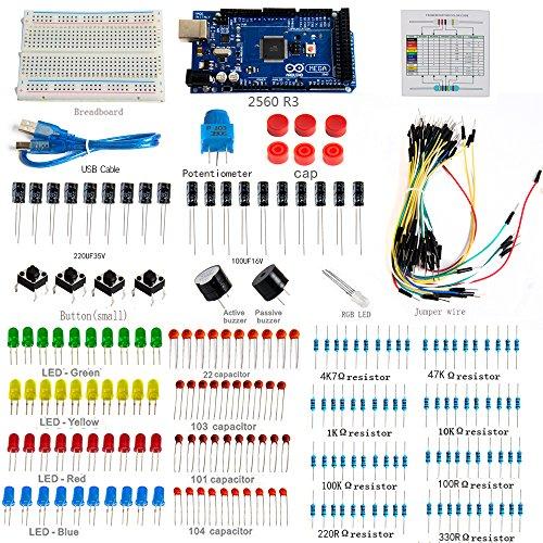 Greatwell Electronics 2560 R3 Starter Kit for Arduino Mega2560 Project BreadboardResistorsBuzzerRGB LEDJumper Wire