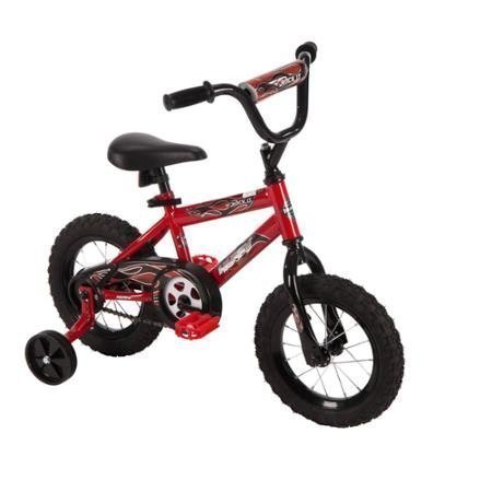 12 Huffy Boys Hi-rise Handlebar in Black with Decorated Handlebar Pad Durable Safe Comfortable Rock It Kids Bike Red