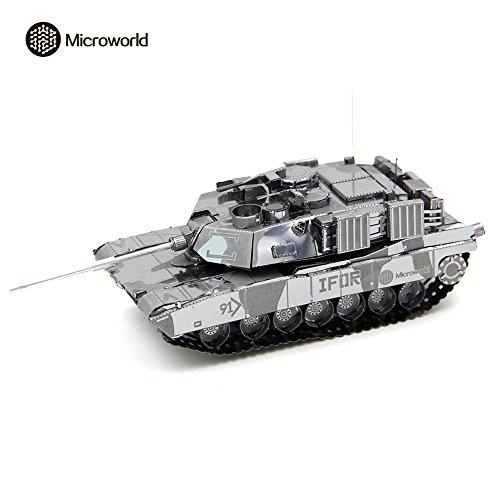 2016 Microworld 3D Metal Puzzle US M1 Abrams Tank Military Model T001-S DIY 3D Laser Cut Assemble Jigsaw Toys - Silver