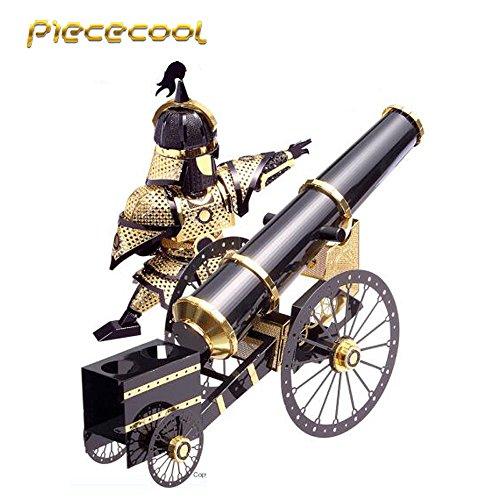 2016 Piececool 3D Metal Puzzle Artilleryman Style Cannon P080-KG DIY 3D Laser Cut Models Jigsaw Toys