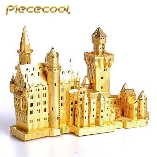 Piececool 3D Metal Puzzle Neuschwanstein Castle Building Kits P013-G DIY Laser Cut Model Jigsaw Toys For Audit - Gold