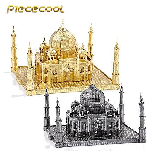 Piececool 3D Metal Puzzle Taj Mahal Building P007-G Model DIY 3d Laser Cut Nano Jigsaw Toys - Gold