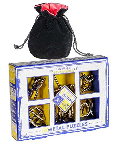 Six Chunky Metal Disentanglement Puzzles _ Professor Puzzles Series _ Bonus Soft Black Velvet Red-Lined Drawstring Storage Pouch _ Bundled Items
