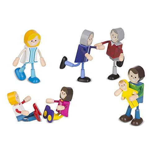Melissa Doug Wooden Flexible Figures 7-Piece Caucasian Doll Family for Dollhouses 2470