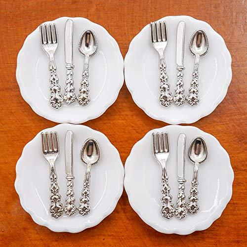 Odoria 112 Miniature 4Pcs Plates and 12Pcs Knife Fork Spoon Dollhouse Kitchen Accessories